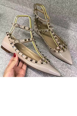 Women Caged Ballet Toe Closed Pointed Flat Shoes (0919094)