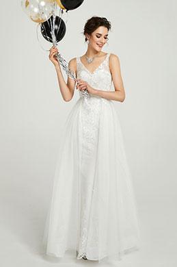 eDressit Robe de Mariée Blanche Longue à Col en V en Tulle (01190107)