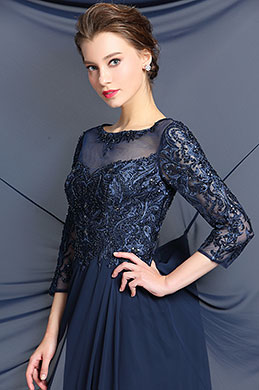 eDressit Sleeves Navy Blue Evening Dress Formal Gown (36183005)