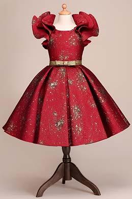 eDressit Burgundy Empire Short Sleeves Wedding Flower Girl Party Dress (28192117)