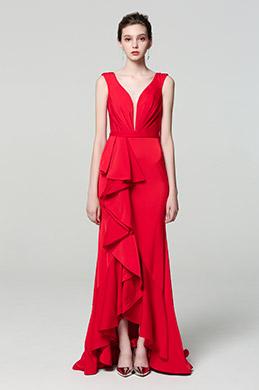eDressit Red Elegant Deep V-Cut Ruffle Party Dress (00190502)