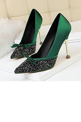Women's Velvet High Heel Closed Toe Pumps Shoes (0919008)