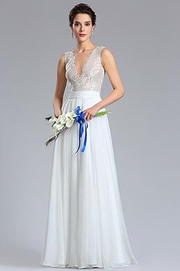 eDressit Robe de Mariée Dentelles blanche Col en V profond (01180507)