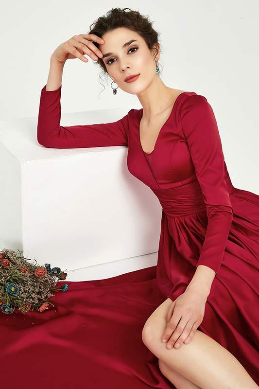 eDressit Red Long Sleeves Slit Evening Party Dress (02191202)