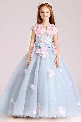 eDressit Light Blue Handmade Wedding Flower Girl Party Dress (27202308)
