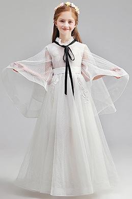 eDressit Romantic Long Sleeves White Wedding Flower Girl Dress (27197107)