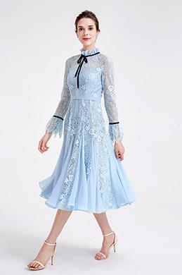 eDressit Robe de Soirée en Dentelle Bleue Claire à Col Haut (04190605)