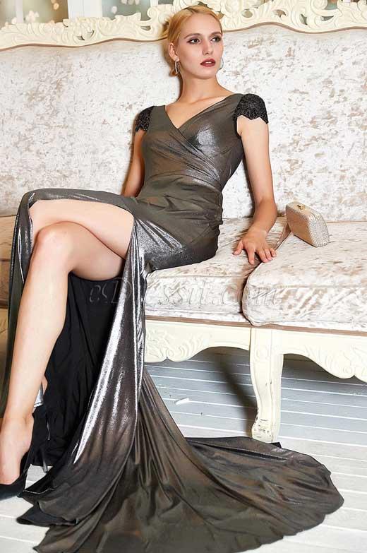 eDressit New Cap Sleeves V-Neck High Slit Party Evening Dress (00202500)