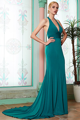 eDressit New Deep V-Cut Halter Green Bridesmaid Evening Dress (07200205)