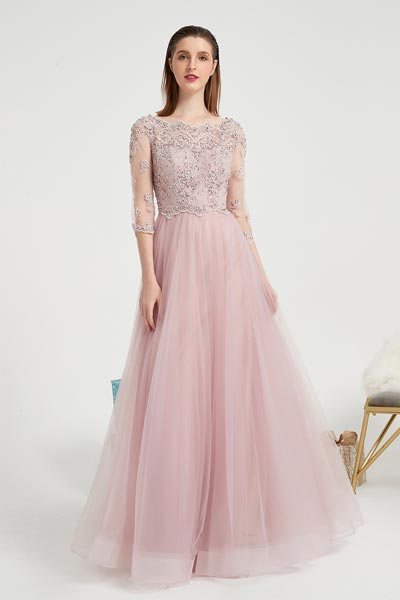eDressit Pink New Beaded Embroider Sleeves Prom Party Evening Dress (02202001)