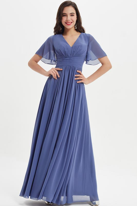 eDressit Blue Cap Sleeves Long Party Bridesmaid Dress (07211105)