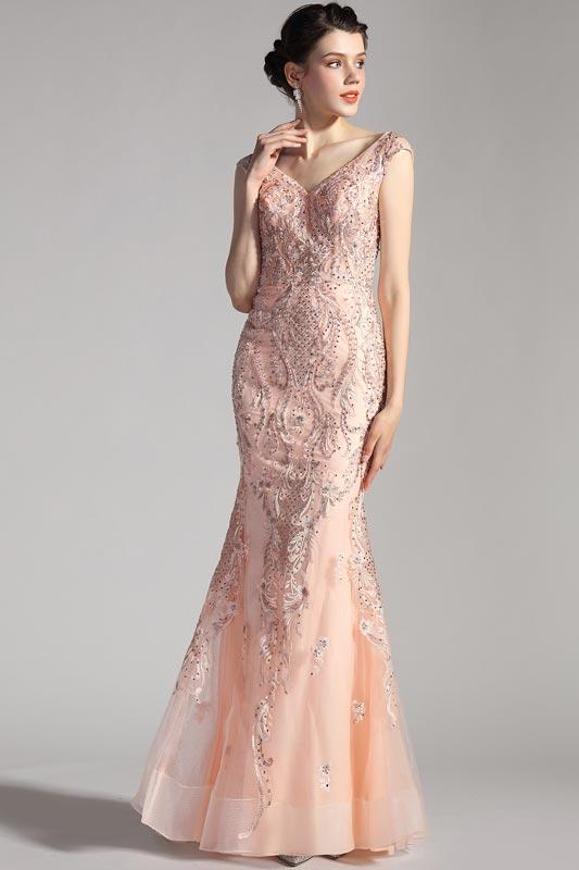 eDressit NEW V-Cut Cap Sleeves Mermaid Tulle Ball Prom Dress (02205001)