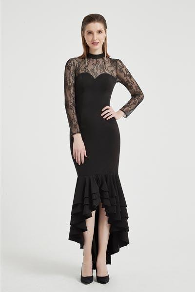 eDressit Black High Neck Lace Sleeves Ruffle Ball Dress (02203500)