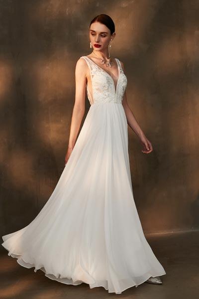 eDressit White Deep V-Cut Embroidery Straps Wedding Bride Dress (02201607)