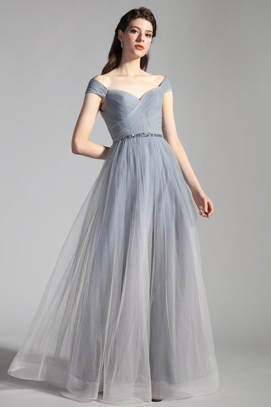 eDressit Grey OFF Shoulder Pleated Shiny Party Evening Dress(00208756)
