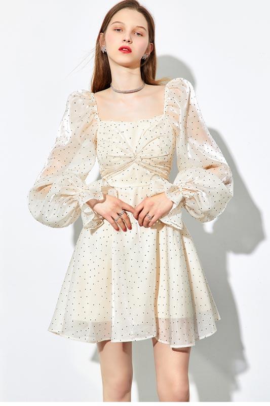 High Fashion Long Sleeves Polka Dot Dress Women Mini Dress (T360006)