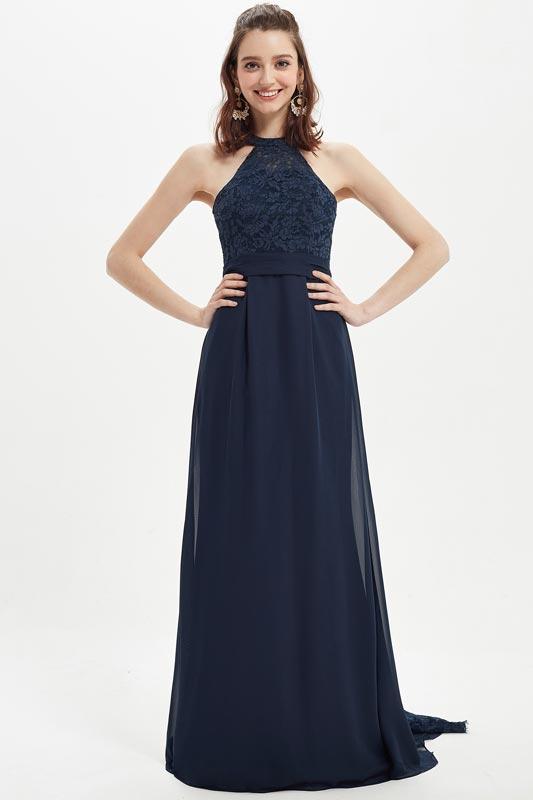 eDressit Dark Blue Halter Lace Appliques Bridesmaid Dress (07218705)