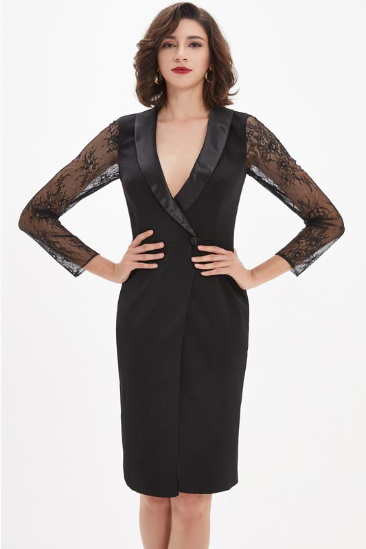 eDressit Black Lace V-Neck  High Short Party dress / Day wear (03210200)