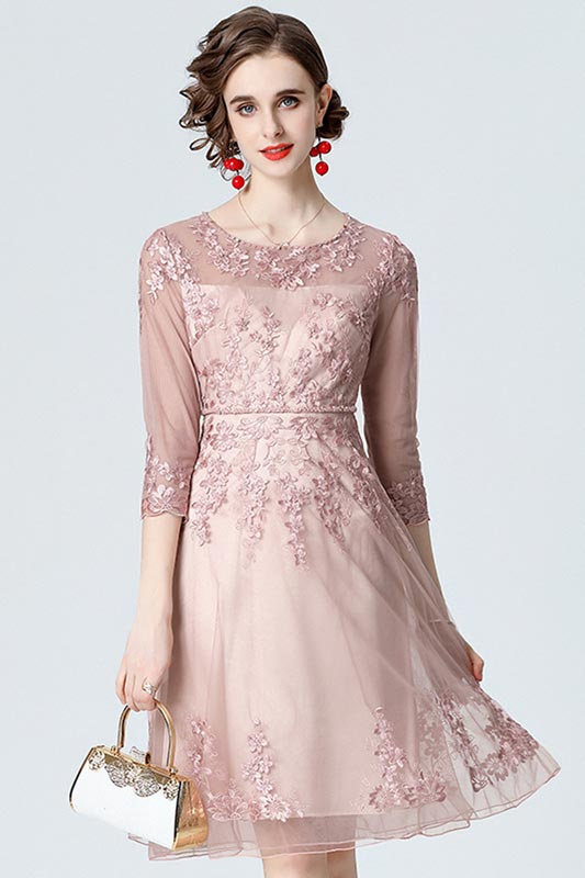 New Half Sleeves Beading Lace Party Gown Mother Dress (T360003)