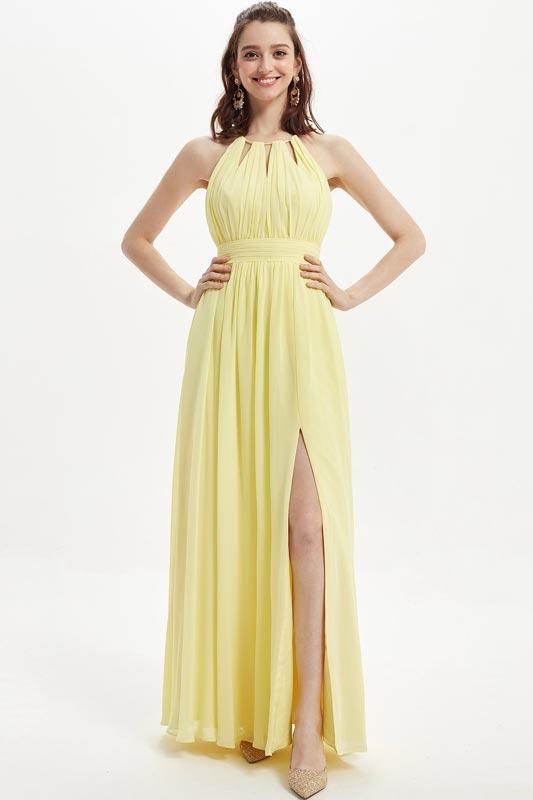 eDressit Shiny Yellow Pleated Top Slit Bridesmaid Dress (07218503)