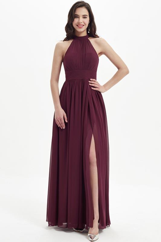 eDressit Burgundy Halter High Slit Wedding Bridesmaid Party Dress (07212917)