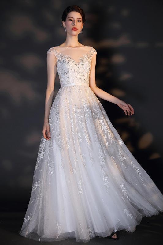 eDressit White Cap Sleeveless Lace Applique Wedding Dress (01204307)