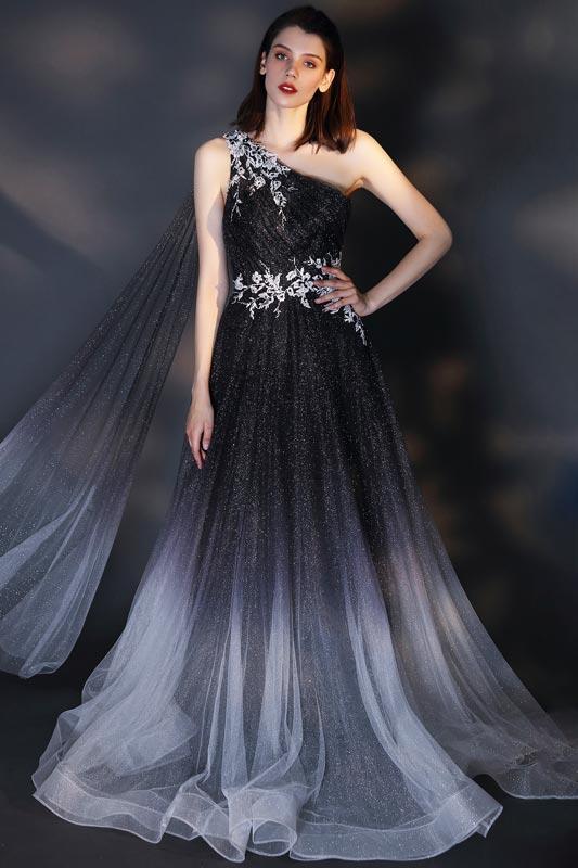 eDressit Shiny One Shoulder Gradient Grey Party Prom Dress (00207856)