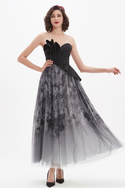 eDressit Black Corset Stylish Printed Tulle Party Evening Dress (04210100)