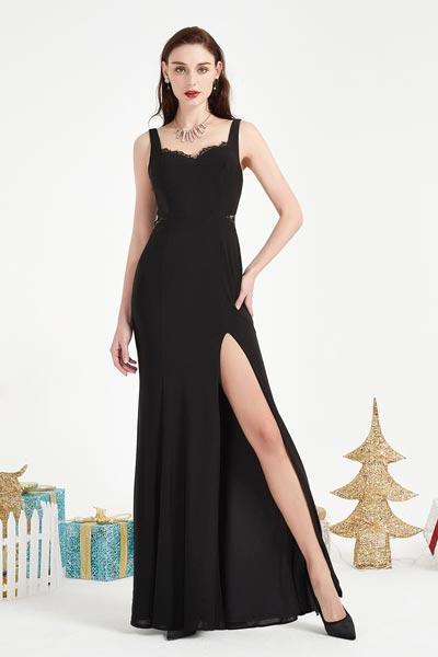 eDressit Black Straps High Slit Party prom Evening Dress (00204000)