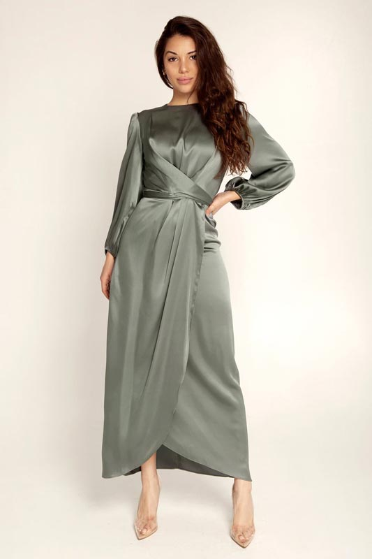 New Women's Elegant Empire Waist Long Sleeve Satin Maxi Dress (T300001)