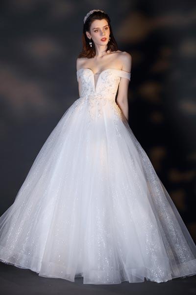 eDressit White Off Shoulder Sequin Embroidery Shiny Wedding Dress (01201907)