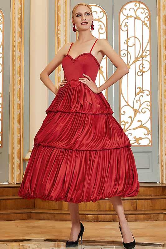 eDressit Red Spaghetti Straps Sweetheart Ruffle Dancing Party Dress (04200302)