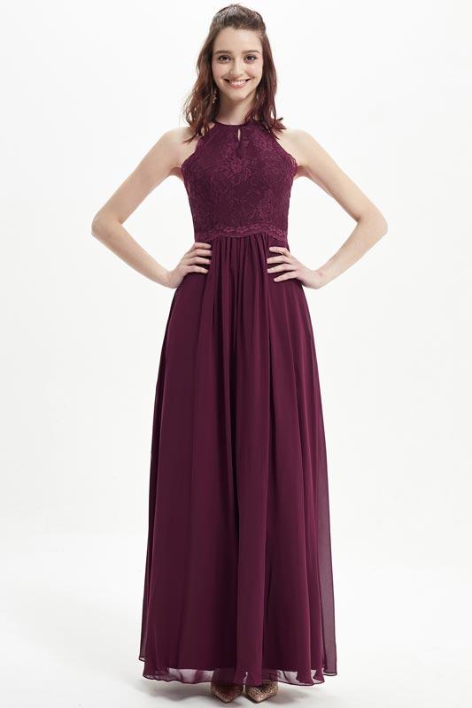eDressit Burgundy Halter Lace Applique Bridesmaid Dress (07215817)