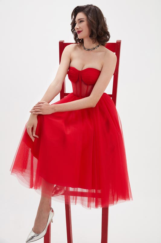 eDressit Bright Red Corset Polyester Bone Tulle Party Dress (04210402)