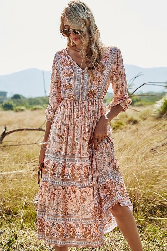 Women 3/4 Sleeves Holiday Dress Floral Print V Neck Summer Midi Dress