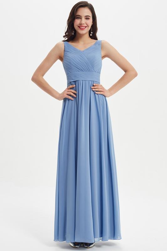 eDressit Blue V-Cut Ruched Bodice Wedding Bridesmaid Dress (07211832)