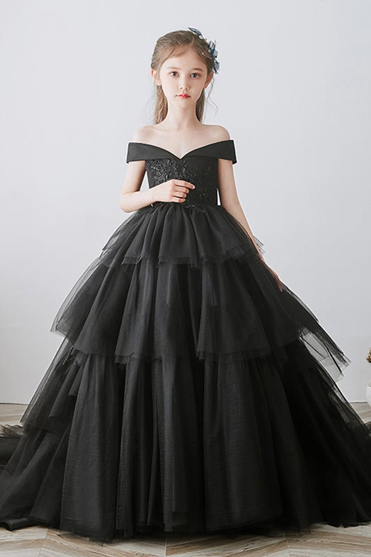 New Black Off Shoulder Lace Applique Cake Flower Girl Dress (T27024)
