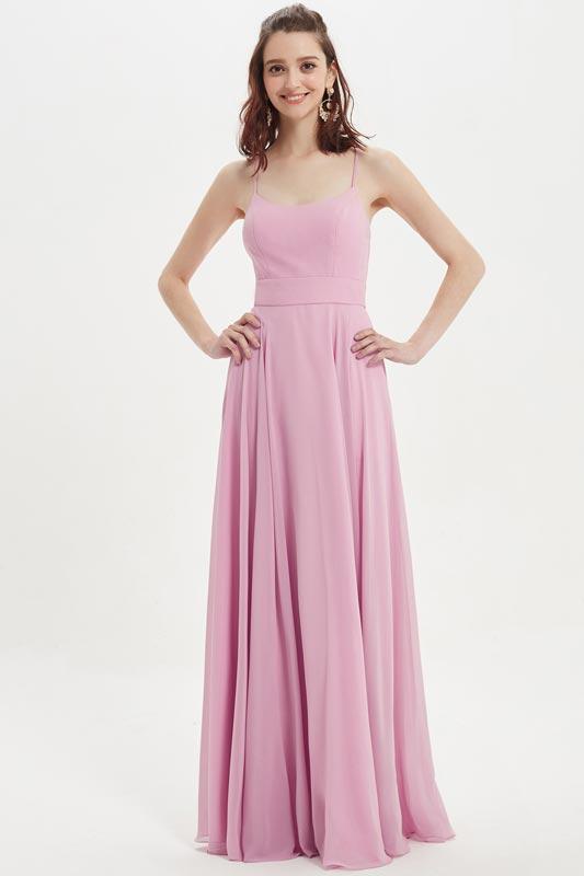 eDressit Spaghetti Straps Pink Long Bridesmaid Party Dress (07218001)