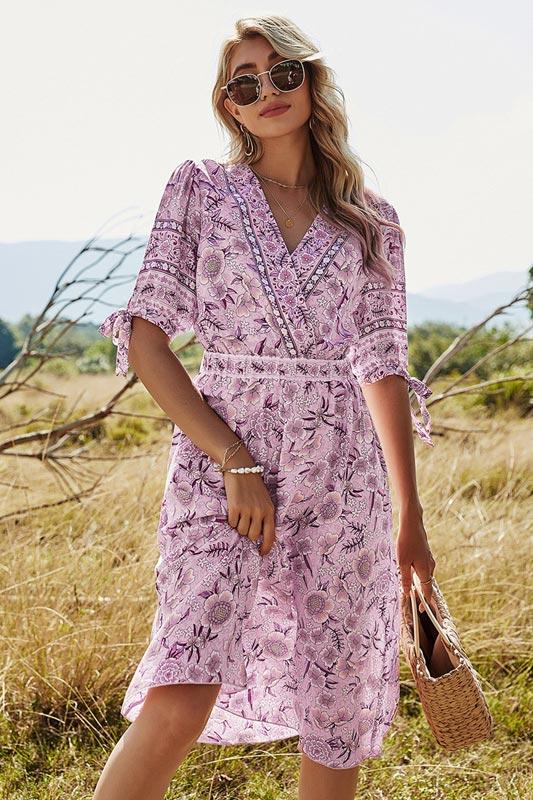 Women Summer Beach Dress Floral Print Holiday Maxi Dress (T061035B)