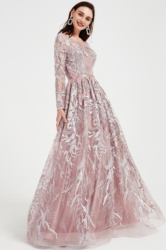eDressit Illusion Neck Long Sleeves Sequins Beaded Party Ball Gown (02202246)