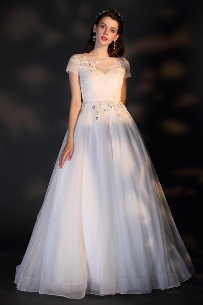 eDressit New White Lace Appliques Shiny Wedding Bridal Dress (01201707)
