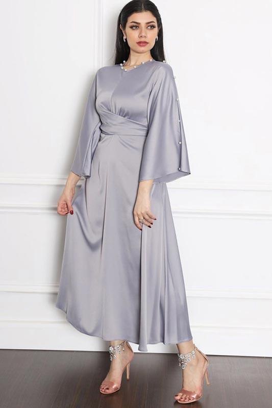 New Women Plain Round Neck Long Sleeves Satin Maxi Evening Dresses (T300002)