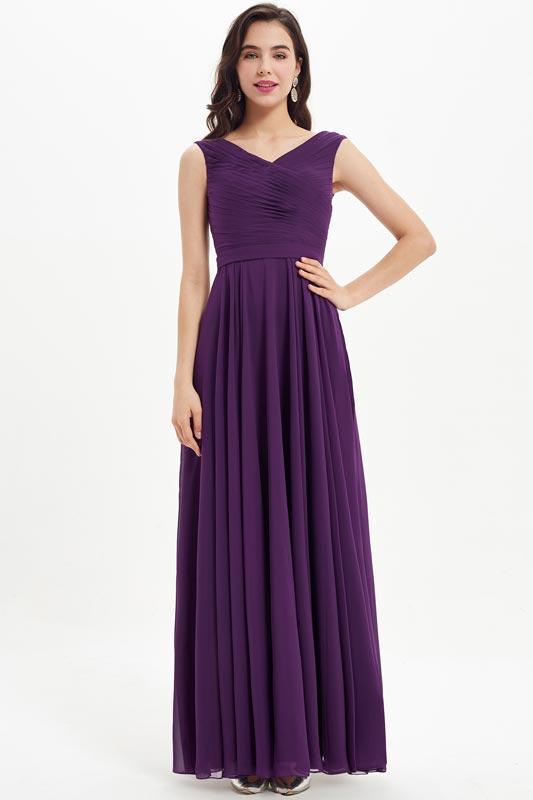 eDressit Sexy Purple V-Cut Pleated Wedding Bridesmaid Dress (07213306)