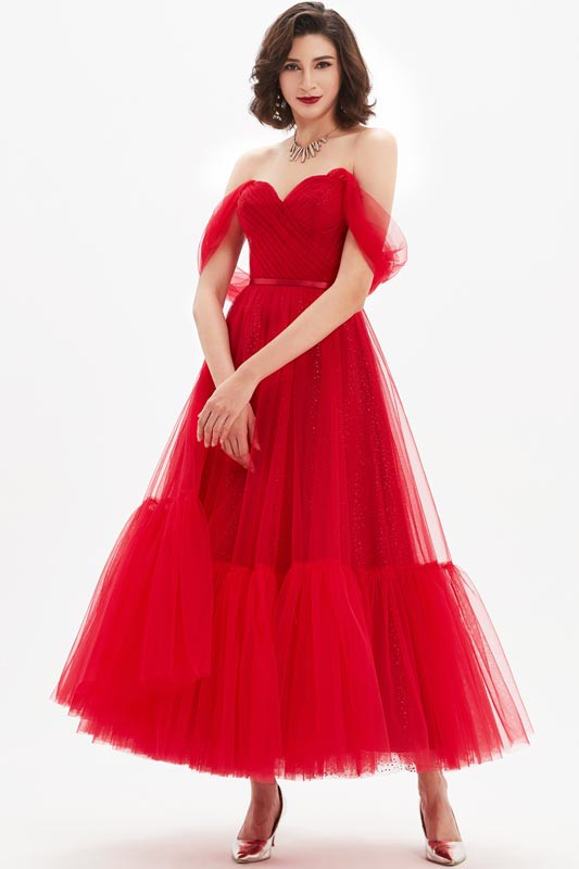 eDressit Red V-Cut OFF Shoulder Pleated Bodice Tulle Party Dress (04210302)