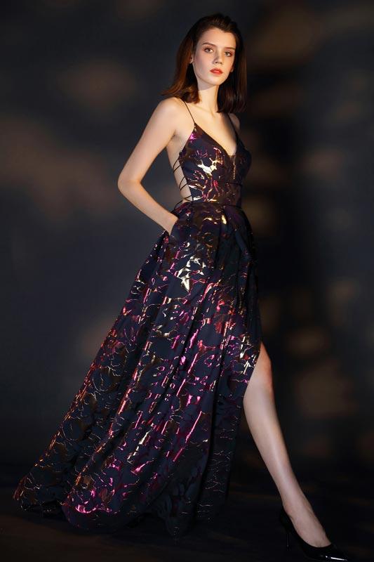eDressit Spaghetti V-Cut Gorgeous Print Party Evening Dress (00205068)
