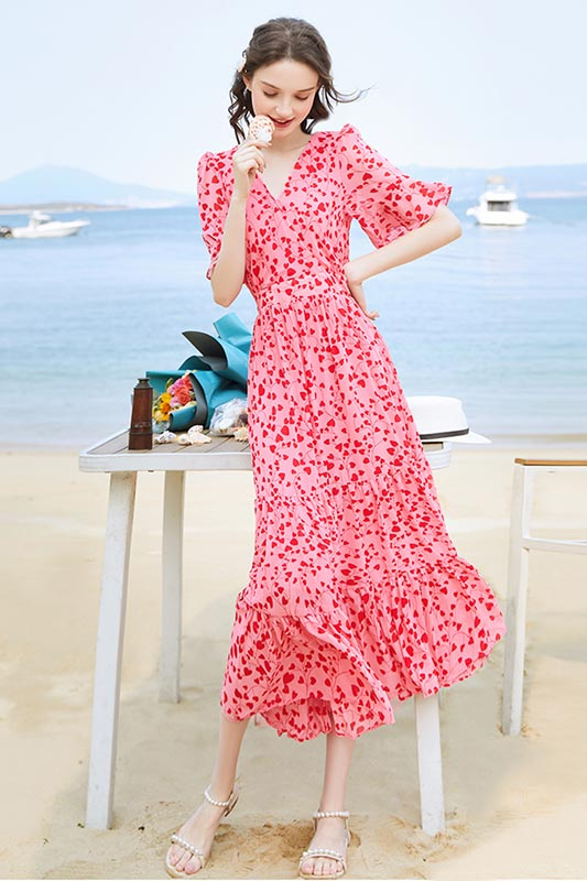 Women Floral Maxi Dress Short Sleeves Print Summer Beach Party Dress (T061009)
