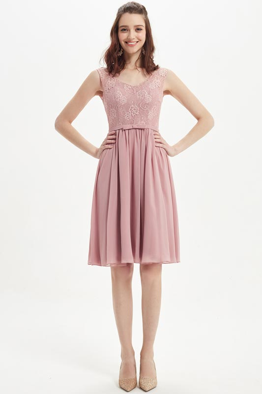 eDressit Dusty Rose V-Neck Lace Cocktail Bridesmaid Dress (07217401)