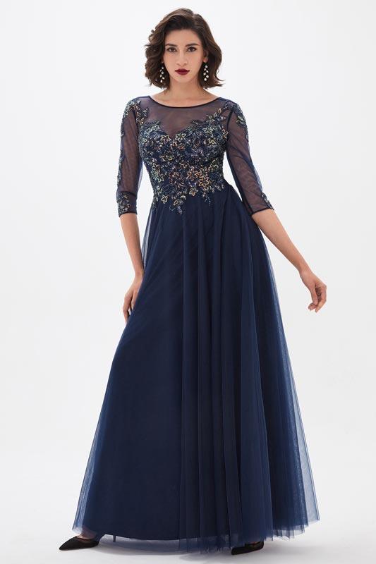 eDressit Blue Illusion Neckline Sequins Mother of the Bride Dress (26211005)