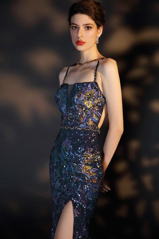 eDressit Blue Spaghetti Halter Shiny Beads and Sequins Party Dress (00207905)