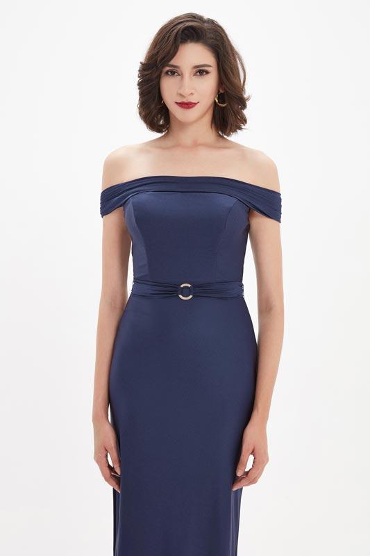 eDressit Blue OFF Shoulder High Slit Elegant Evening Dress (00211205)